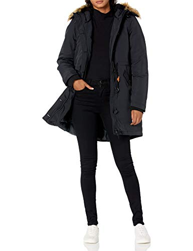 Amazon Essentials Women's Water Resistant Long Sleeve Longer Length Parka with Faux Fur Trim Hood, Black, Small