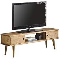 Hogar24-Mesa televisión, Mueble TV salón diseño Vintage, 2 Puertas y Estante, Madera Maciza Natural, fabricación Artesanal. 110 cm x 40 cm x 30 cm