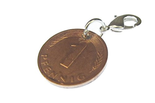 Miniblings 1 Pfennig Münze Glückspfennig Charm BRD Geld Glück - Handmade Modeschmuck I Kettenanhänger - Bettelanhänger Bettelarmband - Anhänger für Armband