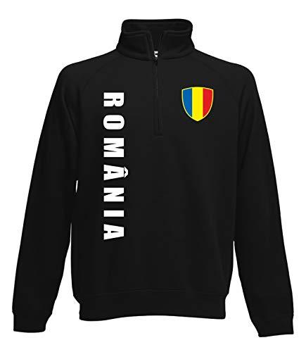 Aprom Rumänien Zip Sweater Pullover Trikot Look Neck Fussball Sport SPA (XL)