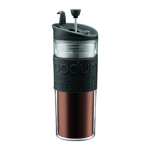 BODUM 11100-01BUS Bistro Double Wall Insulated Travel Press, 15 Ounce, Black