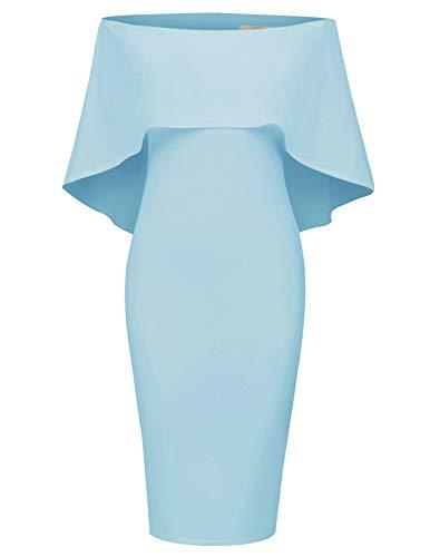 GRACE KARIN Women Off The Shoulder Dresses Cocktail Bodycon Elegant Cape Dress S Soft Blue