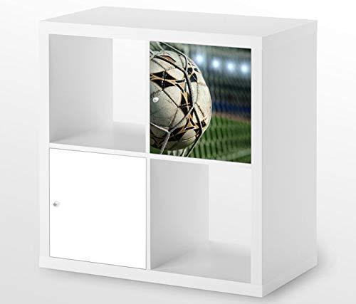 Möbelaufkleber für Ikea KALLAX / 1x Türelement Fussball Netz Ball Kat8 Fußball Tor Goal Aufkleber Möbelfolie sticker (Ohne Möbel) Folie 25D644
