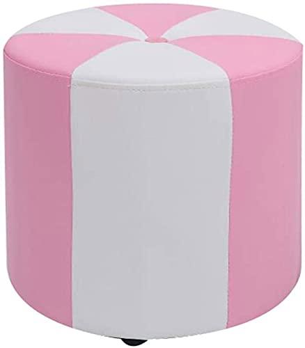 ZCRR - Sgabello rotondo per piedi, piccolo sgabello, sgabello per il trucco, poggiapiedi in pelle PU, per la casa, soggiorno (dimensioni: 31 x 40 cm, colore: Rosa)