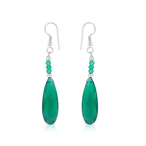 Gemshiner Green Oynx - Pendiente de gancho con forma de pera y rondelle en plata de ley 925 para mujeres y niñas, regalo perfecto para ella