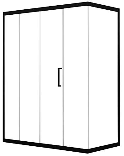 Box Doccia Angolare 80x100 cm 1 Anta Scorrevole in Cristallo Trasparente 6mm H190 Dorini Unix Nero Opaco