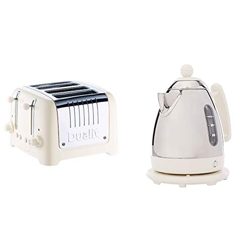 Dualit 46213 4 Slot Lite Toaster in Canvas White Finish & Lite Kettle | 1 L 2 kW Jug Kettle | Polished with Canvas White Trim, High Gloss Finish | Fast Boiling Kettle by Dualit | 72203