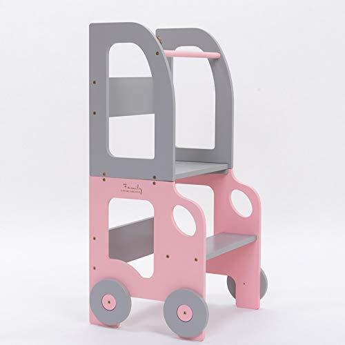 Learning Tower Niños I Torre de aprendizaje a mesa y silla convertible I Montessori Utensilio de cocina de madera ecológica (rosa/gris)