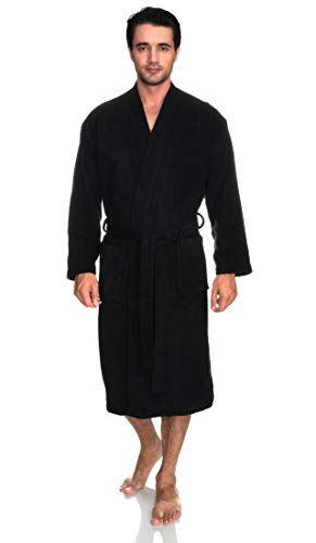TowelSelections Men's Robe, Turkish Cotton Terry Kimono Bathrobe X-Large/XX-Large Phantom Black