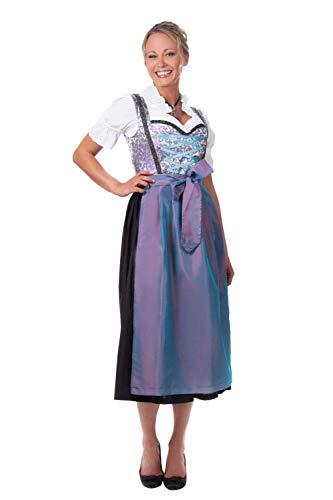 Edelnice Trachtenmode Midi Dirndl 3-teilig blau lila mit passender Bluse und Schürze Gr 40