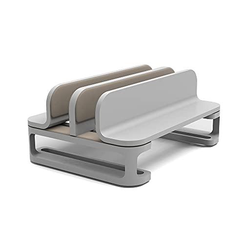 Soporte de refrigeración vertical para portátil de aluminio con base ajustable para portátil MacBook Dell HP más de 10 a 17,3 pulgadas (color de doble base plateada)