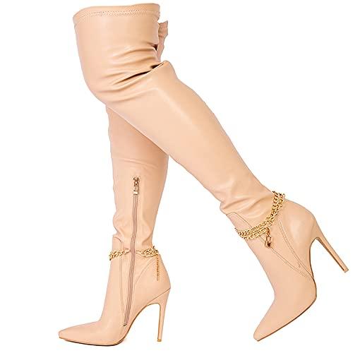 Bottes cuissardes à talon aiguille au-dessus du genou en simili cuir extensible avec boucle pour femme, Similicuir nude., 38 EU