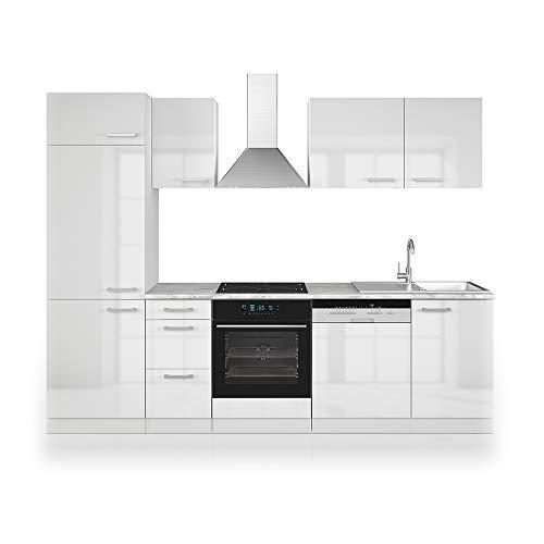 Cucina Vicco Optima Cucina componibile Blocco cucina Cucina su misura 270 cm Antracite lucido