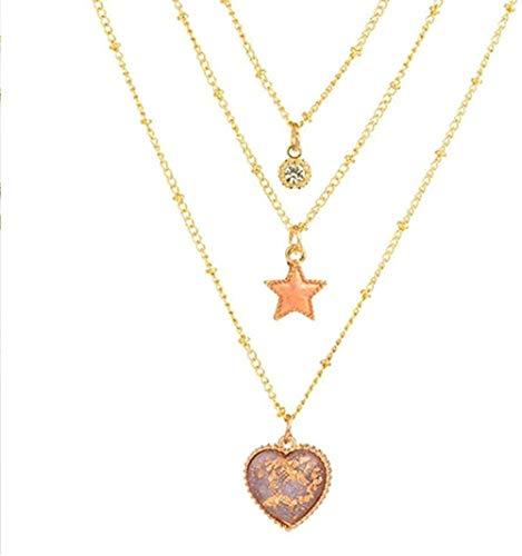 LLJHXZC Collar Romántico Dulce Encantador Corazón Y Forma De Estrella Collares Pendientes Cadena De Eslabones para Mujeres Y Niñas Accesorio De Joyería