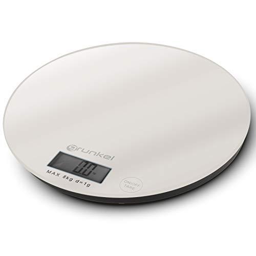 Grunkel - BCR-G01 - Báscula de Cocina Digital con precisión de 1g. Indicador de sobrecarga y función Tara - Peso máximo 8 kg - Vidrio (Blanco)