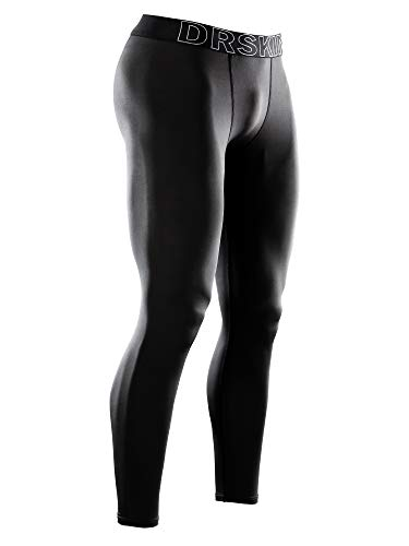 DRSKIN Men's Compression Pants Sports Tights Baselayer Running Workout Active Leggings Yoga Dry Thermal Warm Wintergear (Line BB01, XL)