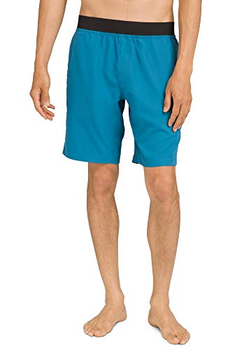 prAna - Men's Mojo Loose-Fit Athletic Shorts with Pockets for Climbing and Yoga, River Rock Blue, Small