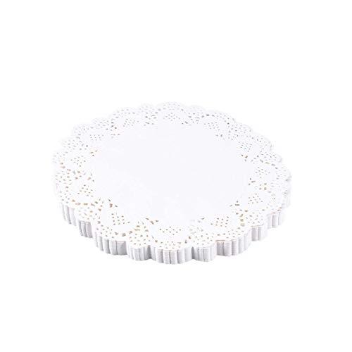 BESTONZON 140 Stk. Spitzendeckchen aus Papier, runde Deckchen, weiß, Einweg für Kuchen, Desserts (4,5 Zoll)