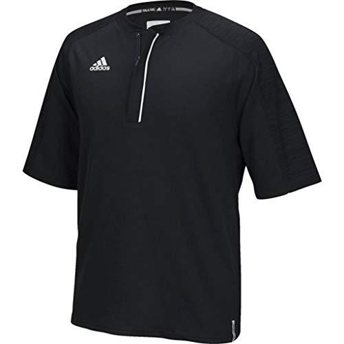 adidas Men's Climalite Modern Varsity Short Sleeve 1/4 Zip (Black, Medium)