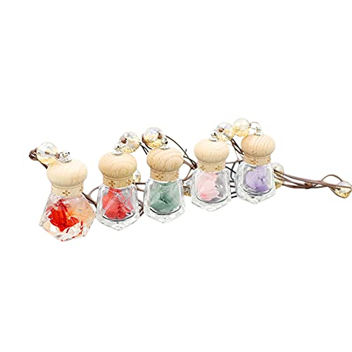 5 Packs Car Hanging Perfume Bottle With Dried Flower Car Essential Oils Diffuser Bottle Car Air Freshener Bottle Pendant Auto Ornament Rearview Mirror Decoration (diamond shape)