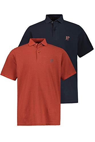 JP 1880 Herren große Größen bis 7XL, Poloshirts, 2er-Pack, Piqué, Seitenschlitze, Regular Fit, rost-Melange, Navy L 704317 52-L