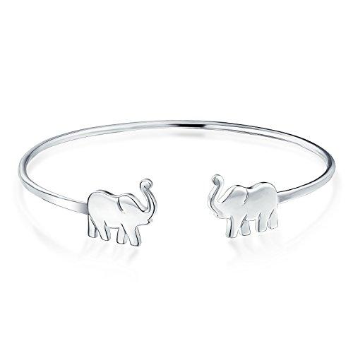 Minimalistische Dünne Viel Glück Elefant Armreif Armband Für Frauen Für Teen 925 Sterling Silber