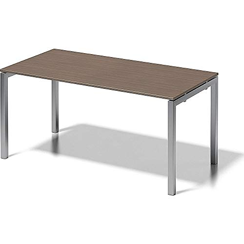Bisley Cito Schreibtisch, 740 mm höhenfixes U, H 19 x B 1600 x T 800 mm, Metall, Wn355 Dekor Nußbaum, Gestell Silber, 80 x 160 x 74 cm