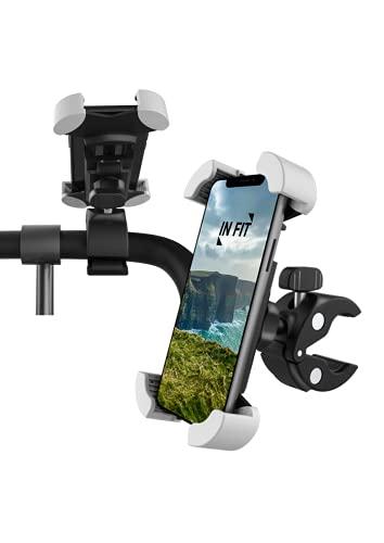 IN FIT Soporte para teléfono móvil GPS Bicicletas Motocicletas Scooters Soporte de Manillar rotación 360° antivibraciones Cualquier teléfono iPhone 12 11 Pro/XS Max/X/XR/8/7/6s, Samsung Galaxy S