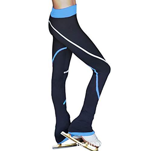 QWA Calze da Pattinaggio sul Ghiaccio, Leggings da Pattinaggio Artistico per Bambini e Adulti, Pile Polare Pantaloni Danza Lunghi (Color : Blue, Size : 155cm)