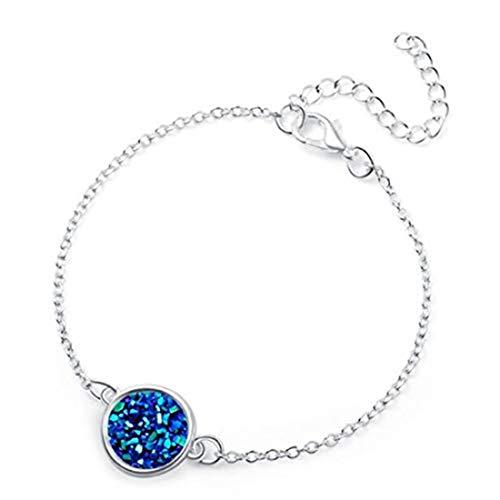 Pulsera redonda de resina drusy drusy de resina con cadena de eslabones para mujer, color plateado + azul