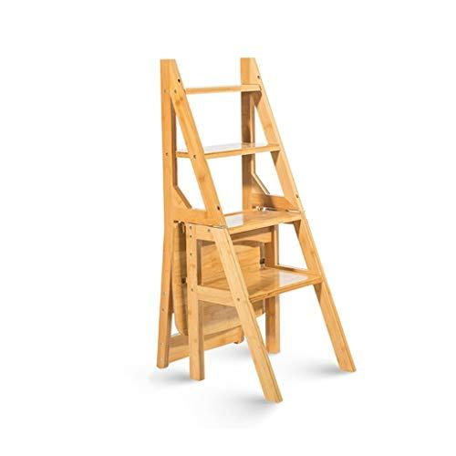 JXXDDQ Massivholz Multifunktionsleiter Stuhl Home Küche Dual-Use Klapptreppen Stuhl Beweglich 4 Stufen Leiter Aufsteigender Hocker (Color : Brown)