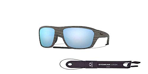 Split Shot OO9416 941616 64MM Woodgrain/Prizm Deep Water Polarized Rectangle Sunglasses for Men +BUNDLE with Oakley Accessory Leash Kit