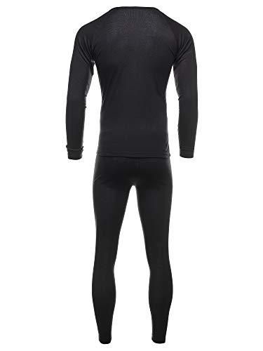 EONO Functional underwear set for men, ski underwear, thermal active, base layer, top + trousers (men, black)