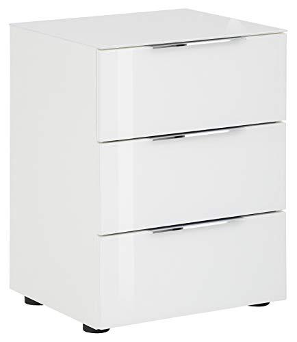 lisel-de Nachtkommode Maja Möbel in Weiß matt/Weißglas - Oberplatte Glas Nachttisch 7802 mit 3 Schubladen - 45x60x40cm
