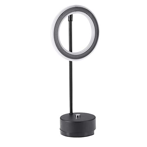 Uonlytech - Lámpara de mesa LED recargable por USB, diseño de círculos, metal, para dormitorio, despacho, luz blanca