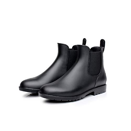 Mini Balabala Damen Chelsea Rain Boot Gummistiefel Kurzschaft Ankle Stiefeletten Gummistiefeletten Regenstiefel, Schwarz/Black, 37 EU