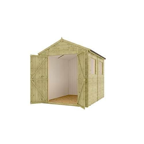 6 x 8 Pressure Treated Modular Hobbyist Apex Central Double Door Windowed Shed with OSB Floor and OSB Roof 1.82m x 2.43m