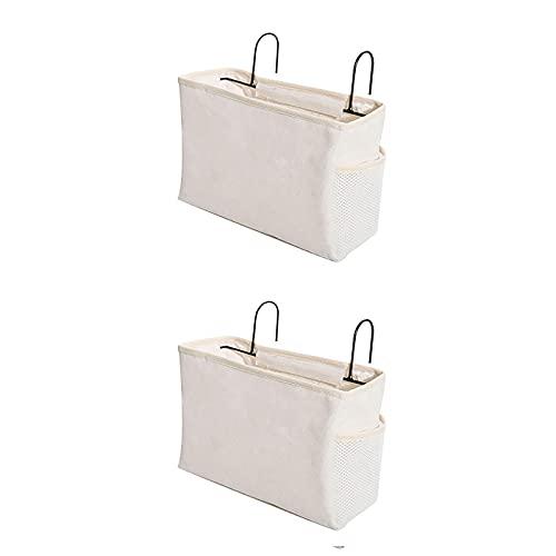 Parshall 2 bolsas de almacenamiento para colgar en el hogar, estantes de almacenamiento, para sillas de dormitorio, de lona, de hierro, para juguetes de almacenamiento, color blanco