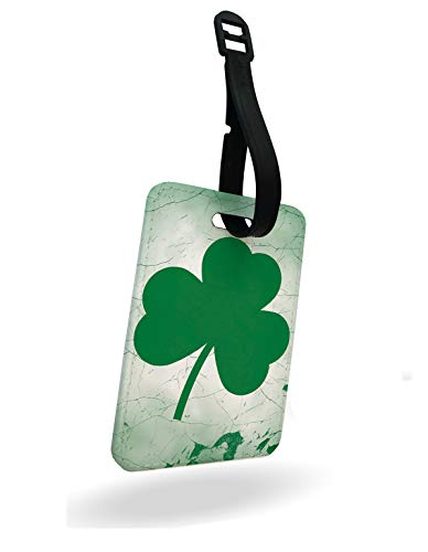 Shamrock St Patrick's Day Ireland Luggage Tag and Strap with Rear Part Printed
