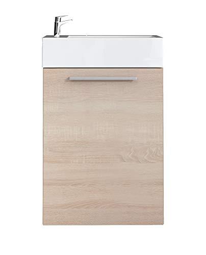 Badezimmer Badmöbel Athene 40x22 cm Eiche hell - Unterschrank Schrank Waschbecken Waschtisch