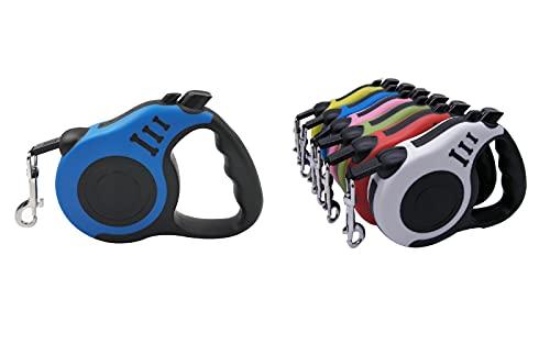 Laisse Rétractable pour Petits Chiens Jusqu'à 12 kg, Longueur Maximale de 3 Mètres, Bouton de Verrouillage et Cadre en ABS Réfléchissant (bleu)