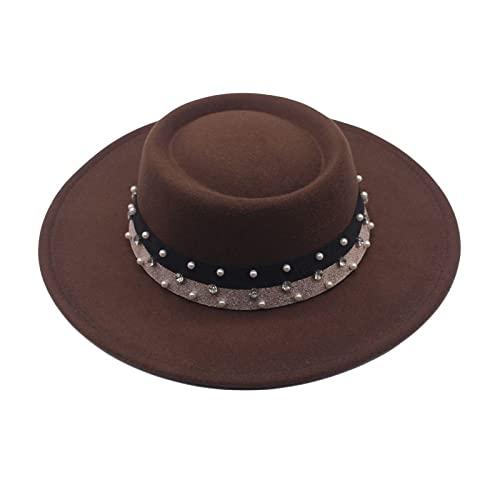 BUXIANGGAN Fedora Trilby Sombreros De Fieltro para Mujer, De ala Ancha De 8,5 Cm, Sombreros De Fieltro, Sombreros De Bailarina Callejera, Gorra De Vestir Formal, 56-58 Cm, Marrn