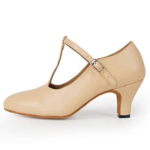 HIPPOSEUS Zapatos de Baile de salón para Mujer - Punta Cerrada con Correa en T Zapatos de Baile Moderno de Tango Latino Zapatos de carácter,Color Desnudo,39 EU