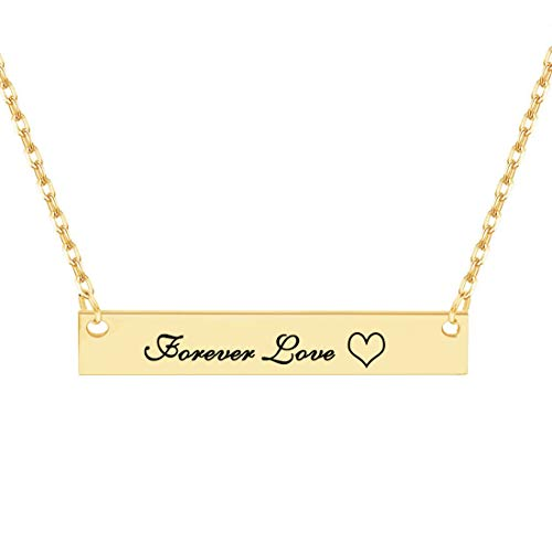 Dreamdecor Custom Bar Necklace Engraved Bar Pendant Necklace Personalized Horizontal Bar Name Necklace for Women