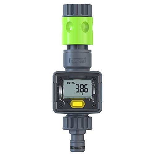 RAINPOINT Water Meter, Digital Water Flow Meter for Garden Hose, Measure Gallons Liters Usage, Track The Flow & 7-Day Average Consumption, LCD Screen, IPX6 Waterproof, Helps Save Water