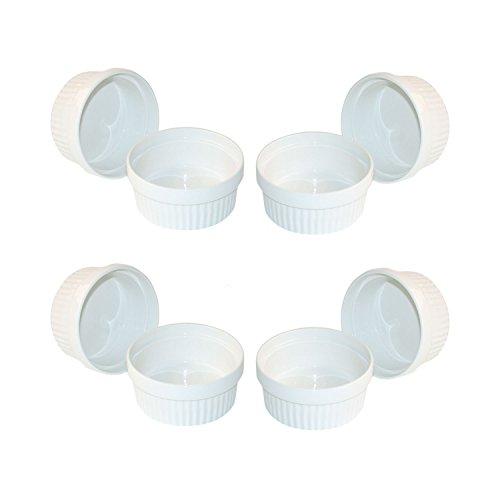 ToCi 12 weiße Creme Brulee Förmchen 11 cm | Schälchen für Ragout Fin | Pastetenform aus Keramik | auch für Schoko-Souffle