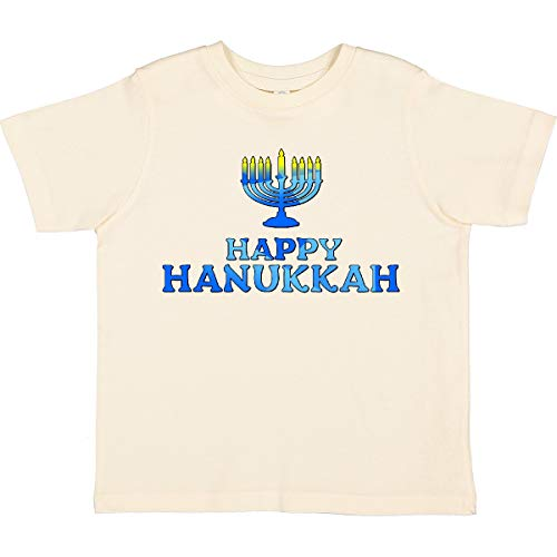 inktastic Happy Hanukkah with Menorah Toddler T-Shirt 5-6 Natural 2d8a9