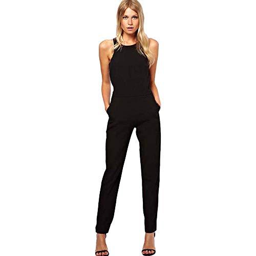 Overall Jumpsuit Damen feiXIANG ärmellose Frauen Hosen Freizeitkleidung Lässige Slim Fit Büro Damenbekleidung Bleistift-Hosen(Schwarz,XL)
