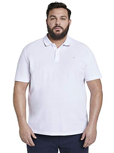 TOM TAILOR Men+ Plussize Kontrast Polo, 20000-bianco, XXXL Uomo