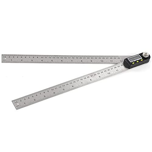 Buscador de ángulo digital Pantalla LED, Transportador de ángulo métrico de acero inoxidable, Herramienta de medición de medidor de regla de goniómetro digital con función de bloqueo de sujeción